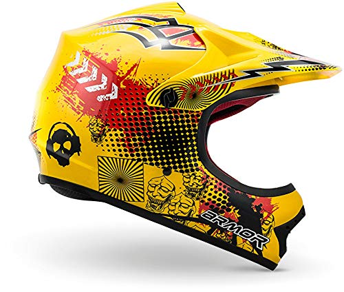"ARMOR · AKC-49 ""Yellow"" (Gelb) · Kinder-Cross Helm · Enduro Kinder Off-Road Sport Motorrad Moto-Cross · DOT certified · Click-n-Secure™ Clip · Tragetasche · S (53-54cm) - 3"