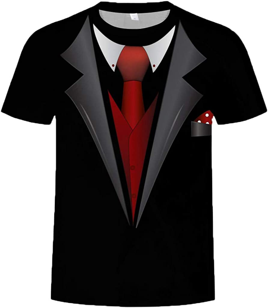 Allywit Hot Popular!Men's Funny Faux Tuxedo Suit Muscle 3D Print Short Sleeve T-Shirt Top Blouse Tee