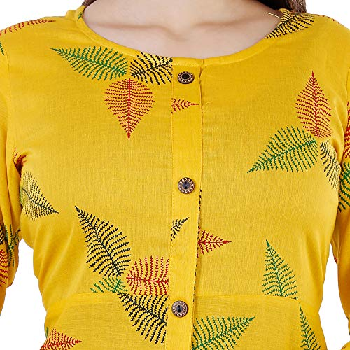 BLACK MACY Women's Handloom Cotton A-Line Kurta Yellow