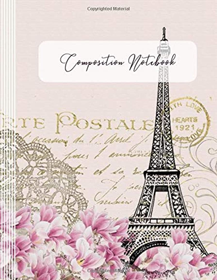 興味出しますアスレチックComposition Notebook: Blank College Ruled Lined Writing And Journaling Paper Notebook - Blush Pink Cream French Vintage Eiffel Tower Architecture Journal Book For Girls Women