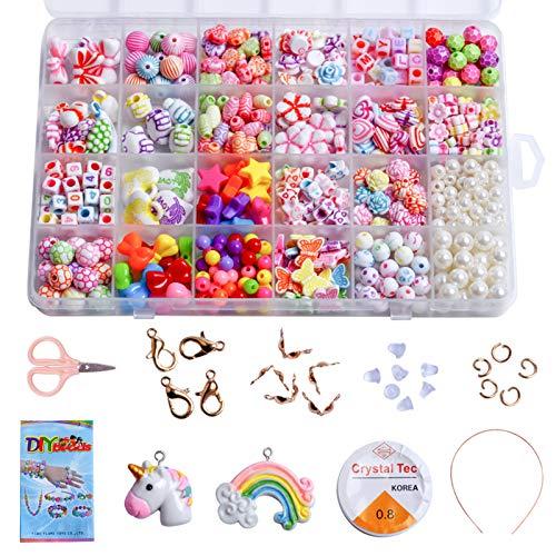 N\C Perlas para enhebrar, pulsera de cuentas de colores, perlas para enhebrar, joyas de perlas para manualidades, juego de pulseras de la amistad, collares y manualidades, 24 colores