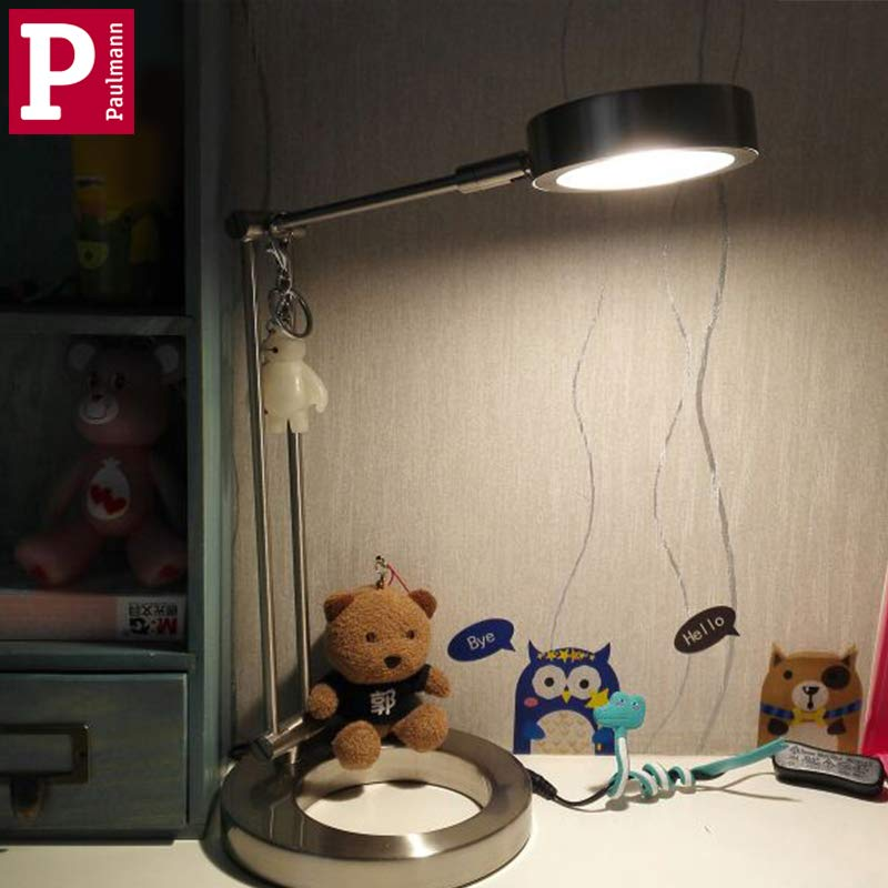 Paulman視力学習夜読書灯(ストリーミング銀)を確保するために目の保護テーブルランプ子供大学生小学校机を読むnドイツ語バーマン学生