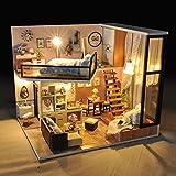 iBaste DIY Puppenstube mit Miniatur Möbel, Puppenhaus Miniatur Puppenhaus Moebel DIY Dollhouse Kit...