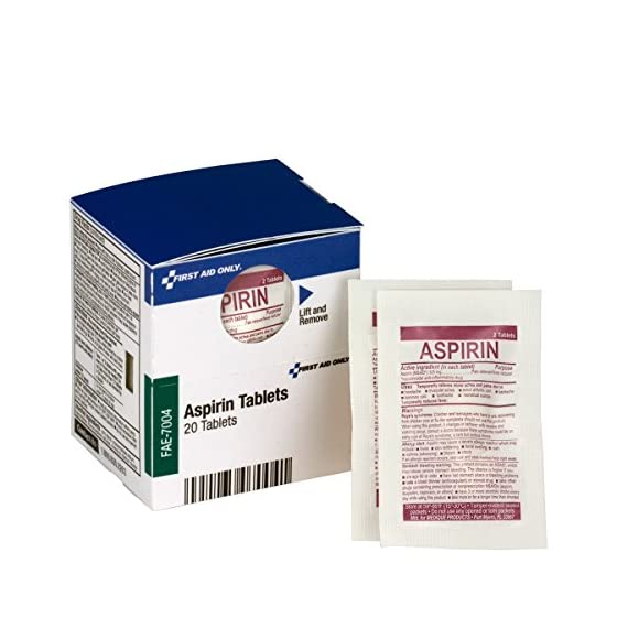 First Aid Only FAE-7004 SmartCompliance Refill Aspirin, 2/Packet, 10 Packets Total 1 SmartCompliance refill is for First Aid Only part numbers 90608, 746000, 1000-FAE-0103 and 1300-FAE-0103. Offer temporary relief of minor aches and pains Contains 10 individually sealed packets of 2 tablets