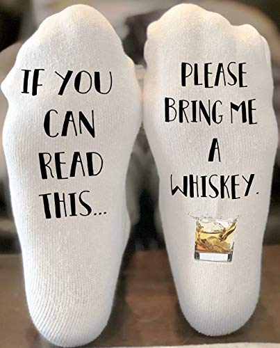 If You Can Read This Bring Me Novelty Socks - Whiskey - Funny Socks For Men and Women Christmas Stocking Stuffers Gift Ideas