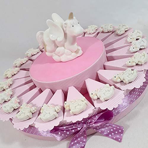 Torta bomboniera da 20 fette unicorni cavalluccio a dondolo magnete + centrale unicorno in porcellana (Torta da 20 fette a)