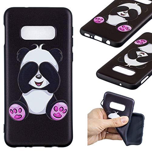 HopMore Compatible pour Coque Samsung Galaxy S10e Silicone Noir Étui Motif Drôle Créative Panda Kawaii Etui Samsung S10e Souple Antichoc Housse de Protection Mince Gel Bumper Case Fine - Panda