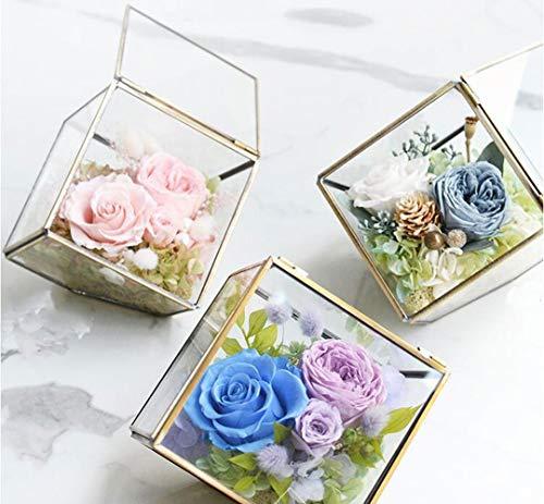 LSNLNN Flor Artificial, Hecha a Mano en Vivo para Siempre en Vidrio, Cabezal de Flores de Rosa Fresca Conservada Cubierta por Cúpula de Vidrio Como Regalos Permanentes,B