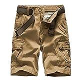 Shorts Pantalones Cortos Hombres Hombres Camuflaje Cargo Bermuda Pantalones Cortos Casuales Multi Bolsillos Pantalones Cortos Militares Tácticos para Hombres 31 Caquisin Cinturón