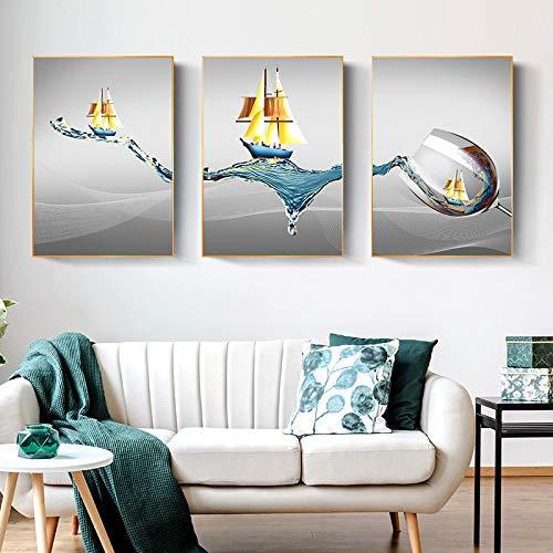 Póster Impresiones de Pared Arte Moderno Minimalista Navegación Copa de Vino Arte Lienzo Pinturas Arte de la Pared Imágenes para la decoración de la Sala de Estar 30x45cmx3 Sin Marco