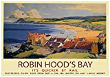 A4 Vintage Reise Eisenbahn Poster Yorkshire Coast Robin