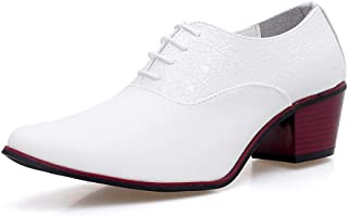 HUAHs0 Classic Oxford for Men Business Dress Shoes Lace up Microfiber Leather Pointed Toe Block Heel Anti-slip Stitching Embossed` (Color : White, Size : 39 EU)