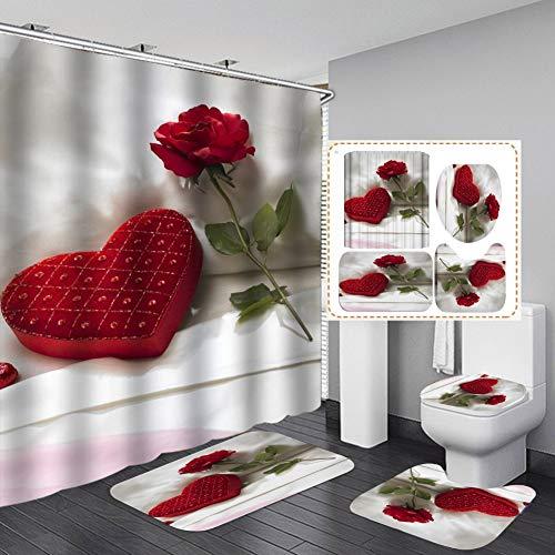 Hankyky Moderne Dusche Vorhang Sets mit rutschfesten Teppichen, Toilette Deckel Abdeckung & Badematte, Rose Blume & Herz Duschvorhänge mit 12 Haken, langlebige wasserdichte