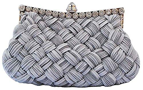 Tskybag Ladies Girls Womens Evening Clutch Bags Wedding Bridal Braided Rhinestone Purse Handbag (Grey)