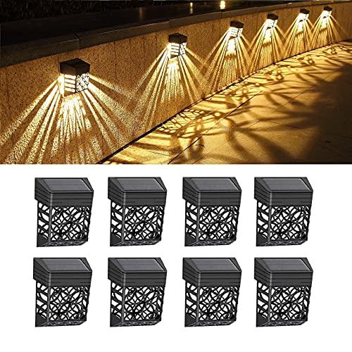 LUNSY Luces solares para vallas, exteriores, luces LED para cubierta, impermeable, automática, decoración de pared para cubierta, patio, escaleras, patio, camino y entrada (8 unidades)