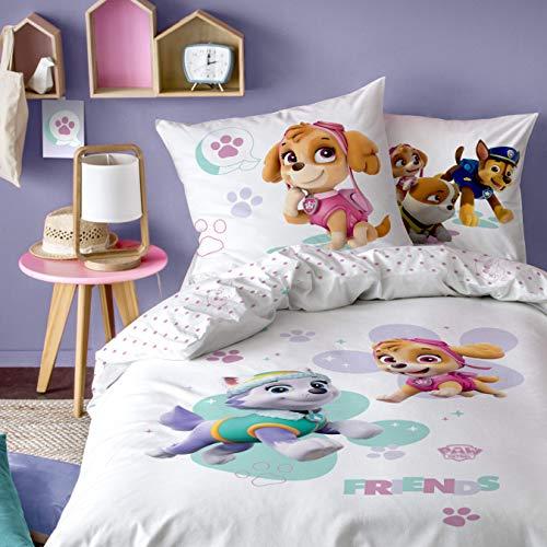 CTI Juego de ropa de cama para niñas de la Patrulla Canina, 2 piezas, ropa de cama infantil, 1 funda de almohada de 80 x 80 cm y 1 funda nórdica de 135 x 200 cm, 100% algodón