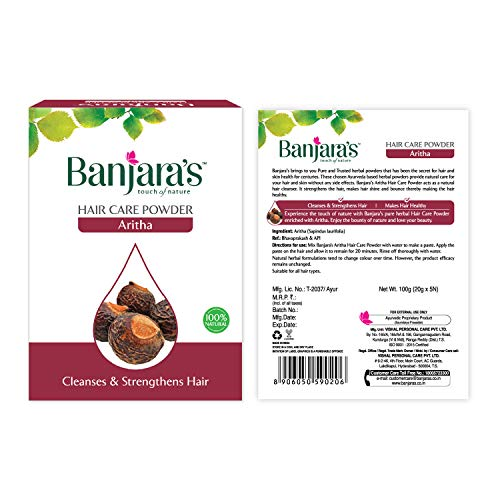 Banjara's Aritha Powder 100gm by Banjaras Herbals Cleanses & Strengthens Hair