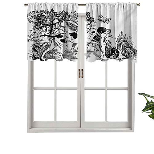 Hiiiman Cenefas de cortina opacas, paneles cortos de cortina de bolsillo para barra de caza de perros en el bosque, monocromático dibujo puntero inglés, juego de 2, 42 x 24 pulgadas para cocina y baño
