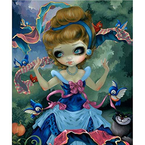 AJleil Puzzle 1000 Piezas Pintura Decorativa de Dibujos Animados niña pájaro Regalo Puzzle 1000 Piezas Rompecabezas de Juguete de descompresión intelectual50x75cm(20x30inch)