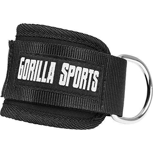 GORILLA SPORTS® Fußschlaufe Fitness Schwarz Einzeln – Ankle Strap gepolstert für Kabelzug