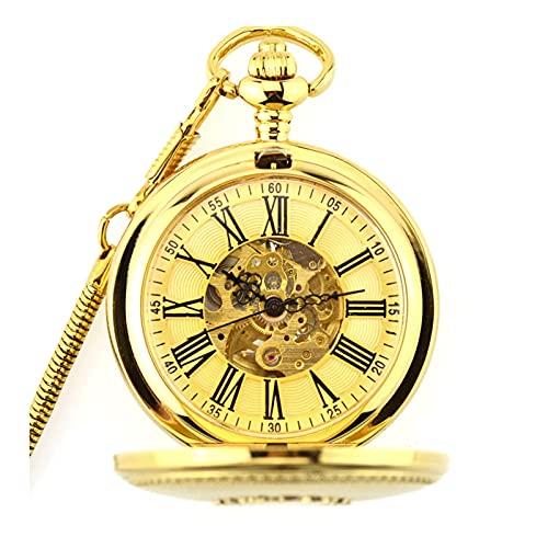 XIXIDIAN Reloj de Bolsillo de Cuarzo de Escala Romana de la Vendimia con Reloj de Bolsillo con Cadenas de Bolsillo Reloj de antigüedad del Estudiante del Estudiante