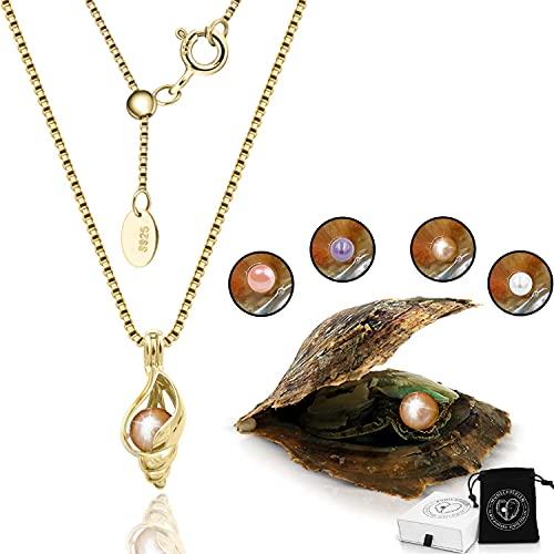 WUNSCHPERLEN Muschel Halskette mit echter Perle in Auster zum Öffnen, 18k Vergoldete Muschelkette Damen mit Muschel Anhänger und Wunschperle in natürlicher Farbe