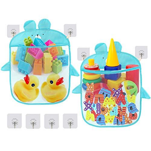 EQLEF Red Juguetes Baño, Blue Bear Toy Mesh Storage Bag Kids Toys Organizer Holder para bañera con Ganchos autoadhesivos (2 Unidades)