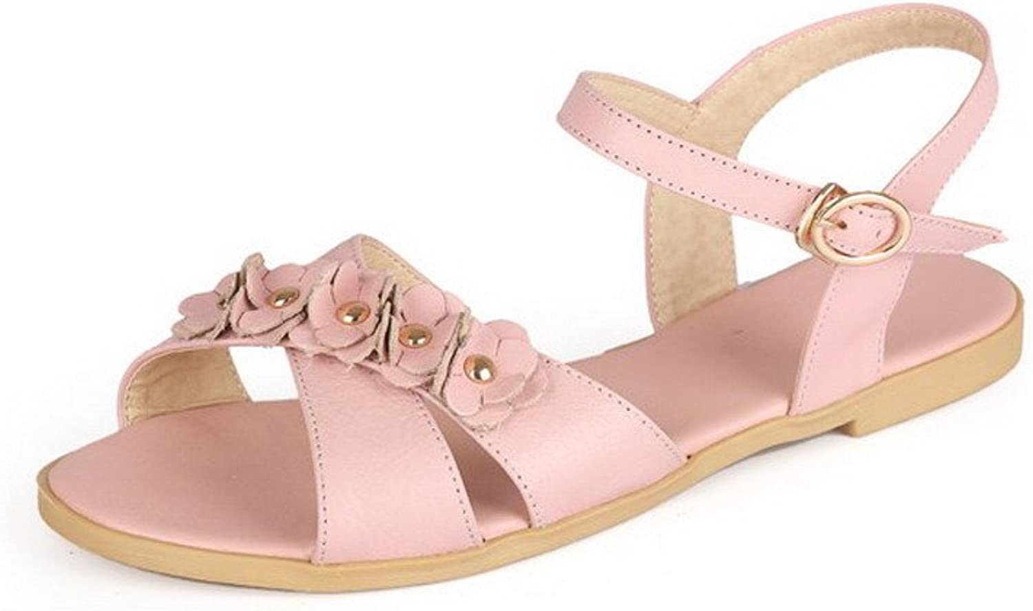 AmoonyFashion Women's Buckle Cow Leather Open Toe No Heel Solid Sandals
