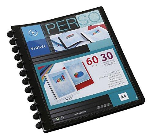 Viquel GEODE - Protège document en plastique avec pochettes amovibles - Porte vues personnalisable - Reliure 60 Vues (30 pochettes) - Format A4 Maxi - Coloris noir