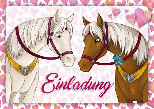 10 Pferde-Einladungen (Set 1) / Geburtstagseinladungen Kinder Mädchen Jungen: 10-er Set liebevoll illustrierte Pferde-Einladungskarten zum Kindergeburtstag von Mädchen von EDITION COLIBRI (10741)