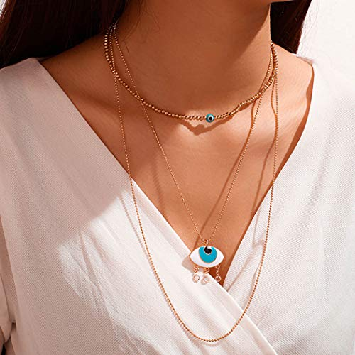 Ushiny Vintage Turquoise Layered Choker Necklace Gold Boho Devil's Eye Pendant Necklaces Jewelry Chain for Women and Girls