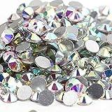 Crystal AB Strass SS3-SS50 - Strass de espalda plana, costura y tela, para decoración de uñas, cristal, 1440 unidades