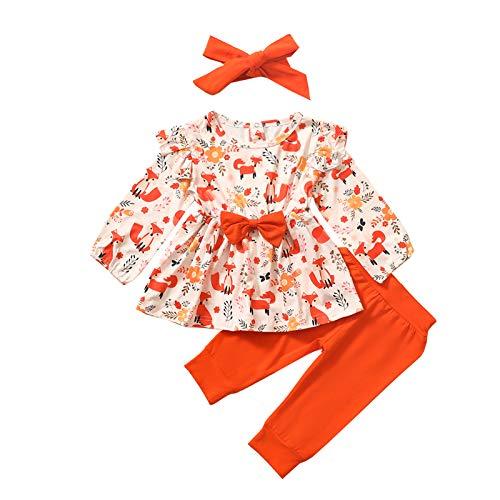 幼児の女の子3pcs服セット長袖フォックスボウノットスカートブラウス無地パンツとヘッドバンド秋冬の衣装 (オレンジ, 12-18ヶ月)