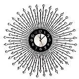 Oversized Handmade Wall Clock, Metal Art Wall Clock Luxury Rhinestone Modern Wall Clock 26' Black Metal Round Sunburst Decorative Wall Clock Nice Wall Clock for Villa Hotel Living Room Home Decor