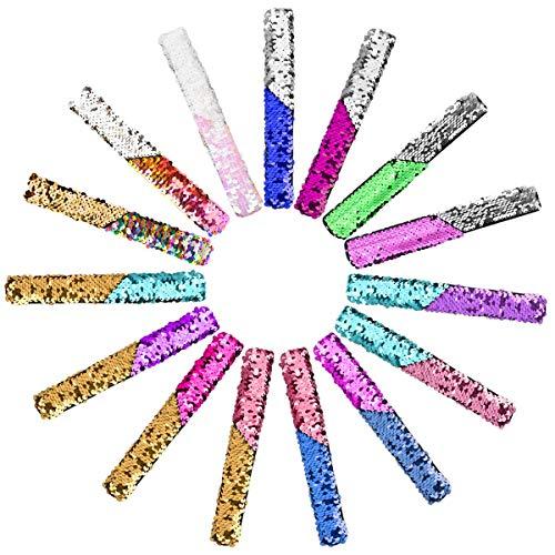SanGlory 15 Stück Meerjungfrau Armbänder für Party, Farbe Reversible Charme Pailletten Slap Armband Magic Beruhigende Armbänder Bunt für Kinder Gastgeschenke, Mädchen, Geburtstagsgeschenke
