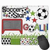 Fútbol Fútbol Clipart digital Papel antideslizante Diseños de personalidad Alfombrilla de ratón para juegos Rectángulo de tela negra Alfombrilla de ratón Alfombrilla de ratón de caucho natural con bor