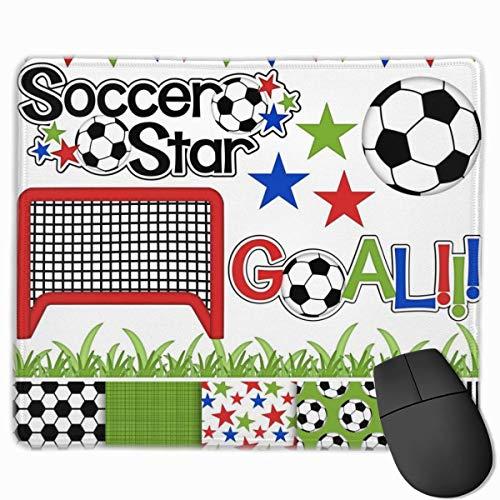 Fußball Fußball Digital Clipart Papier Rutschfeste Persönlichkeit Designs Gaming Mouse Pad Schwarzes Tuch Rechteck Mousepad Art Naturkautschuk Mausmatte mit genähten Kanten