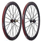 700c wheelset carbon - LOLTRA Carbon Fiber Disc Brake Wheelset 700C Road Bicycle Cyclocross Bike Wheels with 6 Bolts Novatec D791SB D792SB Hub(50x25mm Clincher, QR Version)