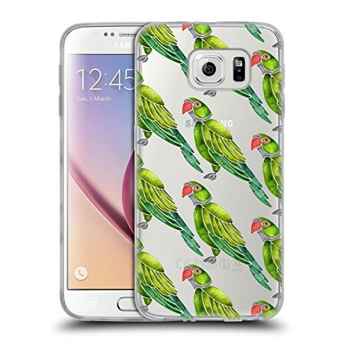 Head Case Designs Oficial Cat Coquillette Loro Verde encaramado Aves 2 Carcasa de Gel de Silicona Compatible con Samsung Galaxy S6