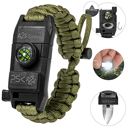PSK Paracord Bracelet 8-in-1 Personal Survival Kit Urban & Outdoors Survival Knife, Fire Starter, Glass Breaker, Survival Whistle, Signal Mirror, Fishing Hook & String, Compass (Green)