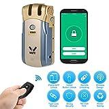 WAFU HF-018W Cerradura Invisible, Cerradura Inteligente WiFi, Cerradura Control Remoto con 4 Controles Remotos, Soporta Desbloqueo de Aplicaciones iOS/Android, Azul + Oro