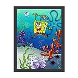 YOKJLDH Spongebob Gemälde Poster Wandkunst Home Office Schlafzimmer Wanddekoration Rahmen 40,6 x 30,5 cm