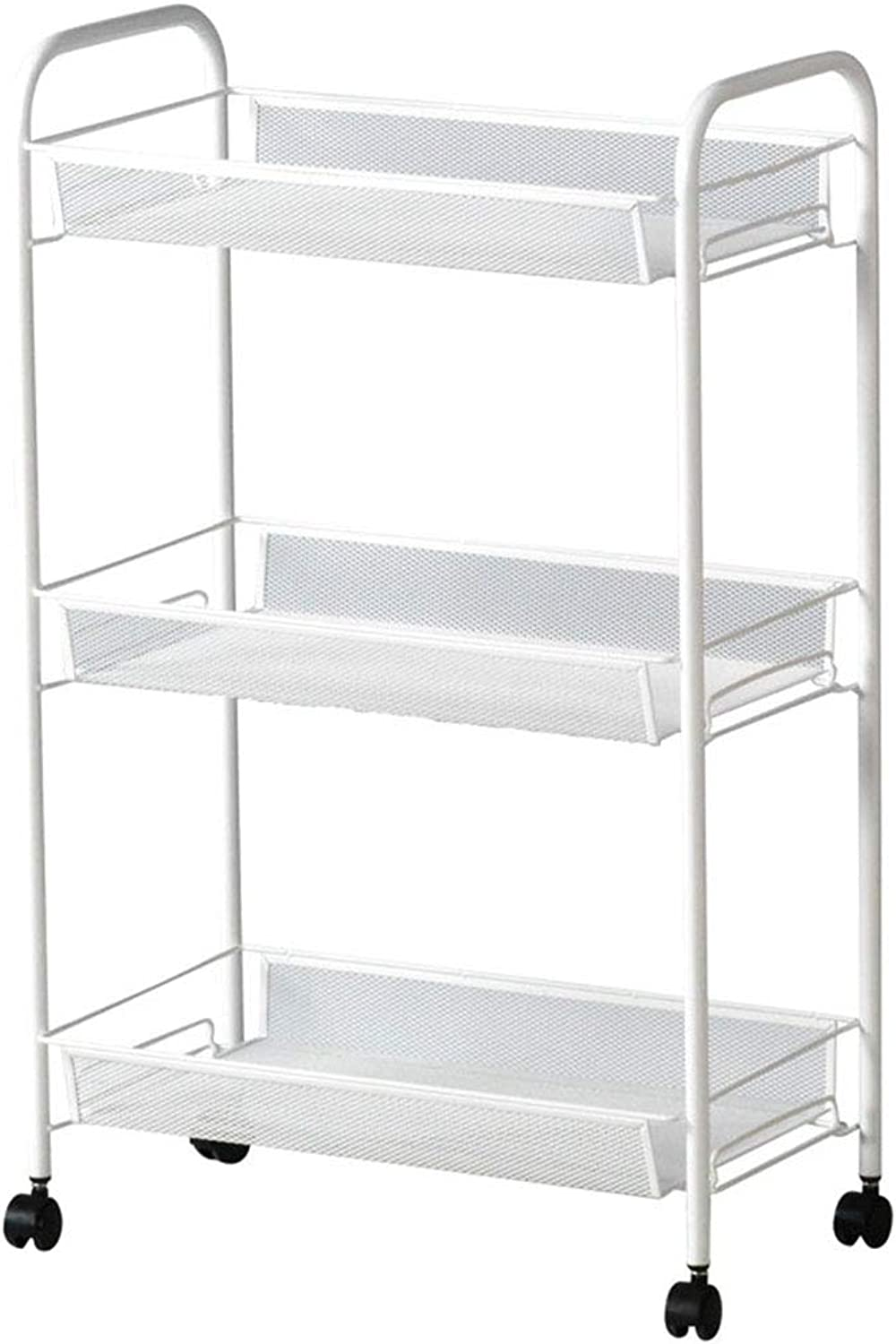 Kitchen Storage Shelf for Kitchen Bathroom Living Room Storage Rack with Pulleys Finishing Metal Three-Tier Rack Partition- White Organisation