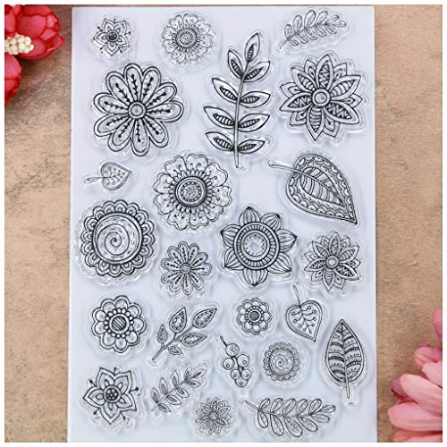 Kwan Crafts Flowers Leaves Clear Stamps for Card Making Decoration and DIY Scrapbooking