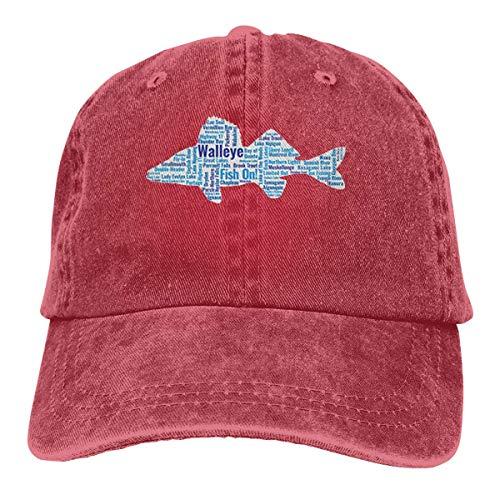 AllenPrint Baseball Mütze,Fischen in Denim-Vati-Hut-justierbarer Baseballmütze Ontarios Kanada