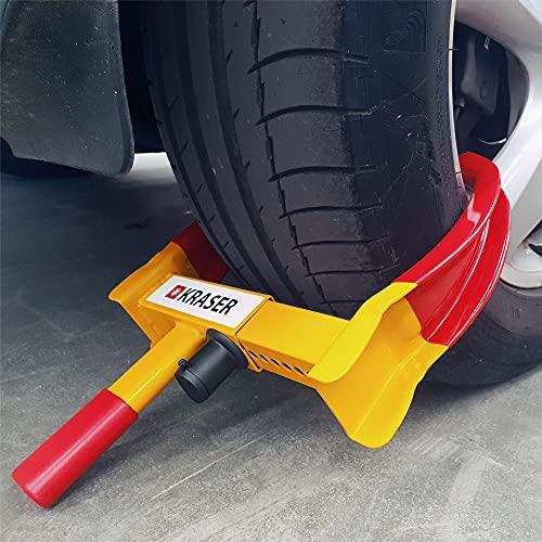KRASER WA820 Antifurto blocca routa Alta Sicurezza, Universale, Regolabile, Auto, rimorchi, roulotte, Protezione in PVC, Serratura Anti-Perforazione, Giallo e Rosso