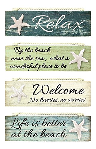 Relax By the Beach Welcome Life is Better Painted Wood Block Signs Set of 4