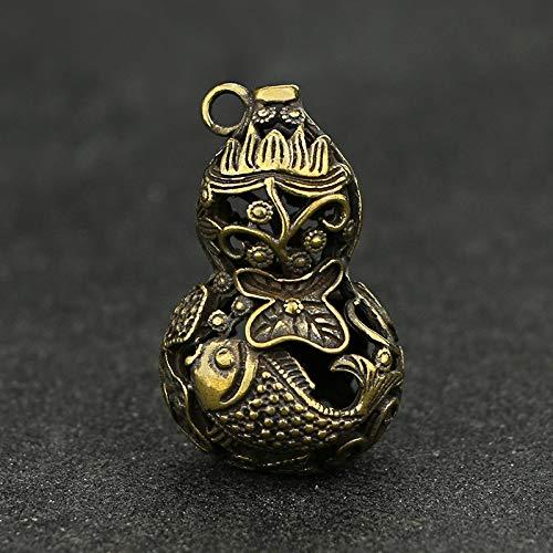 YOPDNE Colgante de cobre puro latón cintura colgante tibetano latón cerradura marca calabaza clave colgante