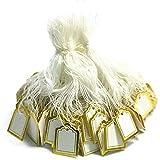 POFET 500 etiquetas de precio de joyería blanca para mostrar la ropa, tarjeta de mensaje de regalo, escritura cuadrada, etiqueta de precio con cuerda para colgar