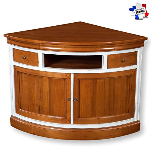 Gontier TV-Möbel, Winkel oder Kragen, 100 {956e1d26c2d4da2d84fa8b103eb17171570f544581a09f79e24fe53ee3e7dca7} hergestellt in Frankreich, Kirschbaum in D-Farbe und weißem Lack., 85x85x85